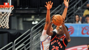Toronto Raptors' Chris Boucher (25) shoots under pressure from Oklahoma City Thunder's Darius Bazley (7) and Moses Brow, center, during the first quarter of a basketball game Sunday, April 18, 2021, in St. Petersburg, Fla. (AP Photo/Steve Nesius)