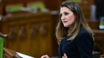 Finance Minister Chrystia Freeland delivers the federal budget in the House of Commons in Ottawa on Monday April 19, 2021. The federal government unveiled spending plans to manage the remainder of the COVID-19 crisis and chart an economic course for a post-pandemic Canada. THE CANADIAN PRESS/Sean Kilpatrick