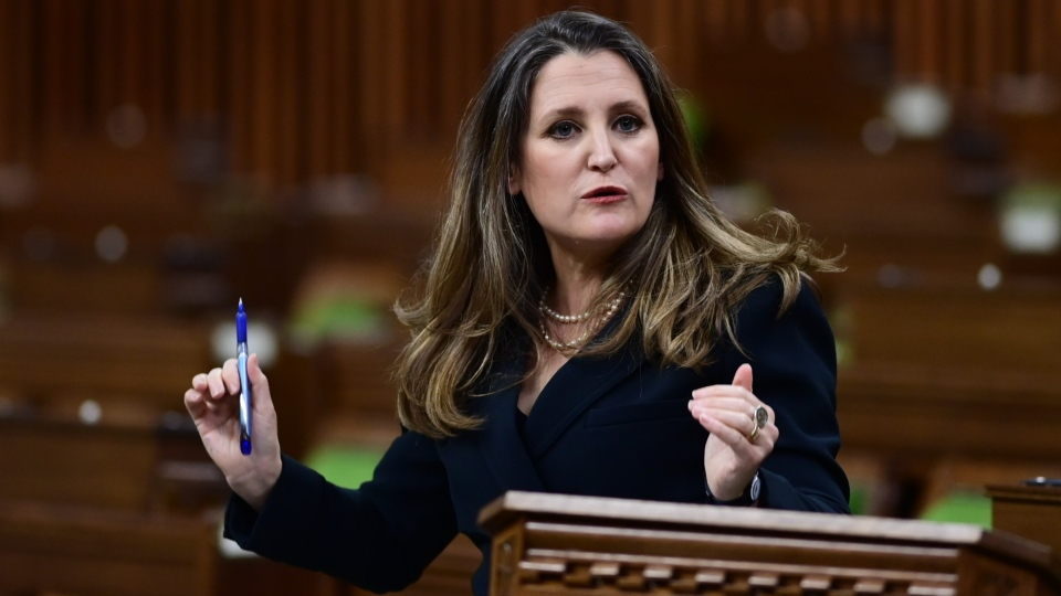 Finance Minister Chrystia Freeland responds to questions from MPs after she delivered the federal budget in the House of Commons in Ottawa on Monday April 19, 2021. The federal government unveiled spending plans to manage the remainder of the COVID-19 crisis and chart an economic course for a post-pandemic Canada. THE CANADIAN PRESS/Sean Kilpatrick
