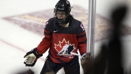 Team Canada's Victoria Bach celebrates after scoring the winning goal against Team USA's during 3-on-3 overtime action of the Rivalry Series in Victoria, B.C., on February 3, 2020. THE CANADIAN PRESS/Chad Hipolito