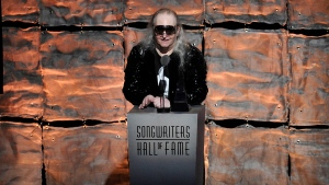 Inductee Jim Steinman speaks at the 2012 Songwriters Hall of Fame induction and awards gala in New York on June 14, 2012. (Photo by Evan Agostini/Invision, File)