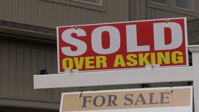 SOLD sign on a home in Southern Georgian Bay on Wed. April 21, 2021 (Craig Momney/CTV News)