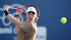 Denis Shapovalov, of Canada, returns a shot from Ilya Ivashka, of Belarus, during the Miami Open tennis tournament, Saturday, March 27, 2021, in Miami Gardens, Fla. (AP Photo/Wilfredo Lee)