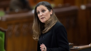 Deputy Prime Minister and Minister of Finance Chrystia Freeland responds to a question during Question Period in the House of Commons, in Ottawa, Tuesday, April 20, 2021. THE CANADIAN PRESS/Adrian Wyld