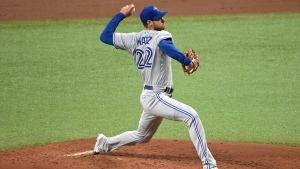 Toronto Blue Jays starting pitcher Steven Matz throws during the first inning of the team's baseball game against the Tampa Bay Rays, Friday, April 23, 2021, in St. Petersburg, Fla. (AP Photo/Phelan M. Ebenhack)