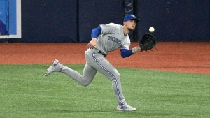 Toronto Blue Jays right fielder Cavan Biggio catches fly ball hit by Tampa Bay Rays' Willy Adames during the third inning of a baseball game Friday, April 23, 2021, in St. Petersburg, Fla. (AP Photo/Phelan M. Ebenhack)