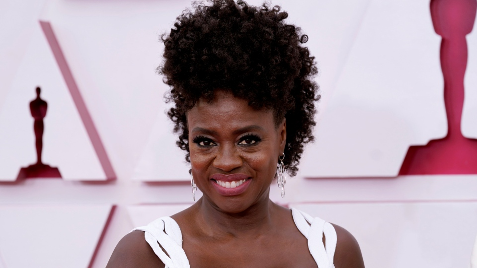 Viola Davis arrives at the Oscars on Sunday, April 25, 2021, at Union Station in Los Angeles. (AP Photo/Chris Pizzello, Pool)