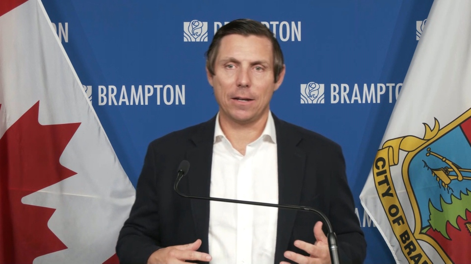 Brampton Mayor Patrick Brown speaks at a press conference about the city's COVID-19 response on Wednesday, April 28, 2021.