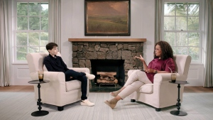 "Actor and producer Elliot Page sits down with Oprah Winfrey in a new interview for ""The Oprah Conversation."" (Courtesy of Apple via CNN)"
