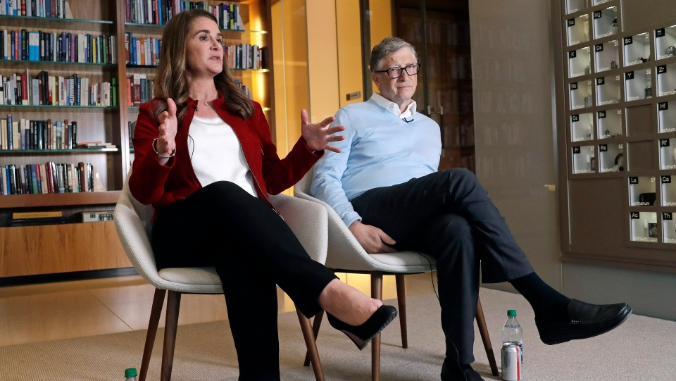 In this Feb. 1, 2019 photo, Bill and Melinda Gates are interviewed in Kirkland, Wash. (AP Photo/Elaine Thompson)