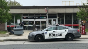 Toronto police respond to a stabbing at Royal York Station in Etobicoke Tuesday, May 4, 2021. (Ted Brooks)
