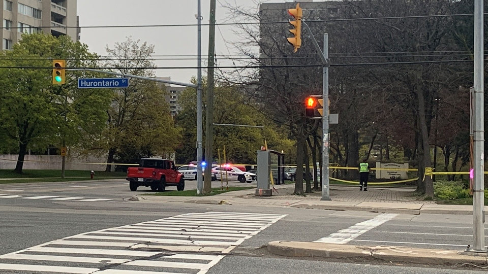 Peel Regional Police Investigate after a five-year-old child was fatally struck by a vehicle at Hurontario Street near Elm Drive in Mississauga Tuesday May 4, 2021. (Kayla-Marie Tracy /CP24)