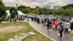 People line up in Crescent Town for a COVID-19 vaccine pop-up clinic on June 18, 2021. (Francis Gibbs/CTV NEWS TORONTO)