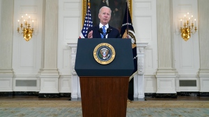 President Joe Biden speaks about the American Rescue Plan, in the State Dining Room of the White House, Wednesday, May 5, 2021, in Washington. (AP Photo/Evan Vucci)
