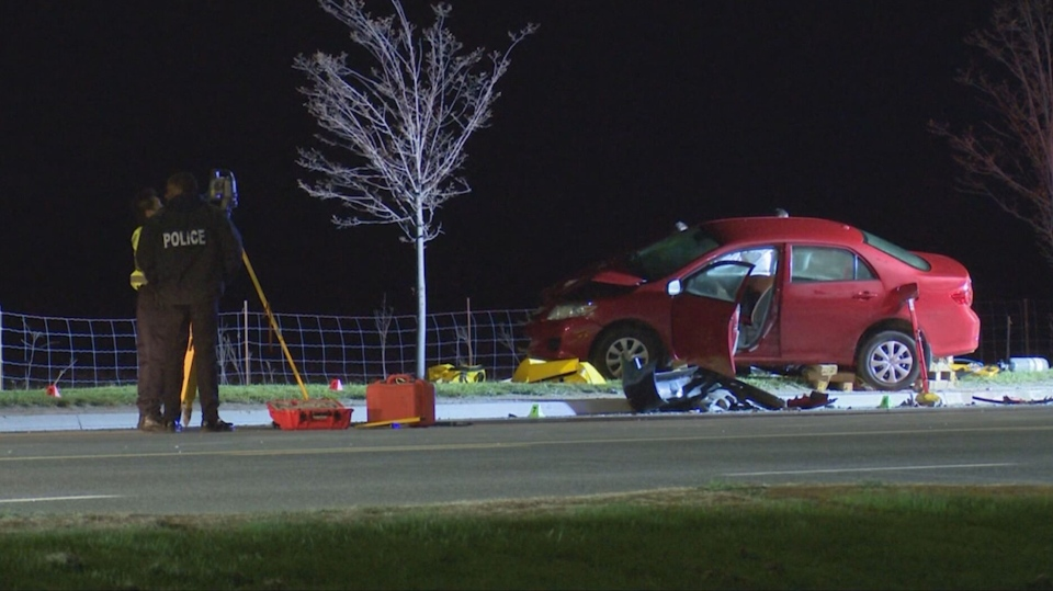 A female is dead after an overnight crash in Brampton on Thursday.