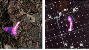 This combination of satellite images provided by the Kayrros data analytics company shows methane plumes, captured using specialized sensors overlaid on optical photos, rising from natural gas sites in Aliso Canyon north of Los Angeles on Oct. 26, 2015, left, and the Permian Basin in Texas on Nov. 8, 2020. According to a United Nations report released on Thursday, May 6, 2021, cutting the super-potent greenhouse gas methane quickly and dramatically is the world's best hope to slow and limit the worst of global warming. (Kayrros via AP)
