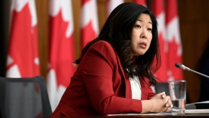 Minister of International Trade Mary Ng participates in a news conference on the Canada-United Kingdom Trade Continuity Agreement in Ottawa, on Saturday, Nov. 21, 2020. THE CANADIAN PRESS/Justin Tang