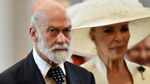 FILE - In this Friday, June 10, 2016 file photo, Britain's Prince Michael of Kent and Princess Michael of Kent arrive at St Paul's Cathedral in London. An investigative report by British media published Sunday,May 9, 2021 says that Queen Elizabeth II's cousin, Prince Michael of Kent, was willing to use his royal status for personal profit and to seek favors from Russia's President Vladimir Putin. (Ben Stansall/Pool Photo via AP, file)