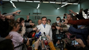 Alexander Murakhovsky speaks with the media in Omsk, Russia on August 21, 2020. (Alexey Malgavko/Reuters via CNN)