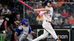 Houston Astros' Kyle Tucker (30) hits a three-run home run during the fourth inning of a baseball game against the Toronto Blue Jays, Sunday, May 9, 2021, in Houston. (AP Photo/Eric Christian Smith)