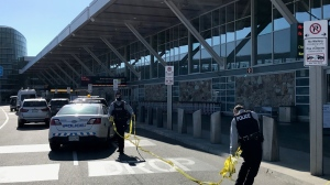 Police are investigating an incident outside the Vancouver International Airport. (CTV News/David Molko)