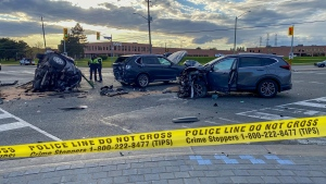 A multi-vehicle collision is pictured at Weston Road and Steeles Avenue West Monday May 10, 2021. (Scott Lightfoot / CTV News Toronto)