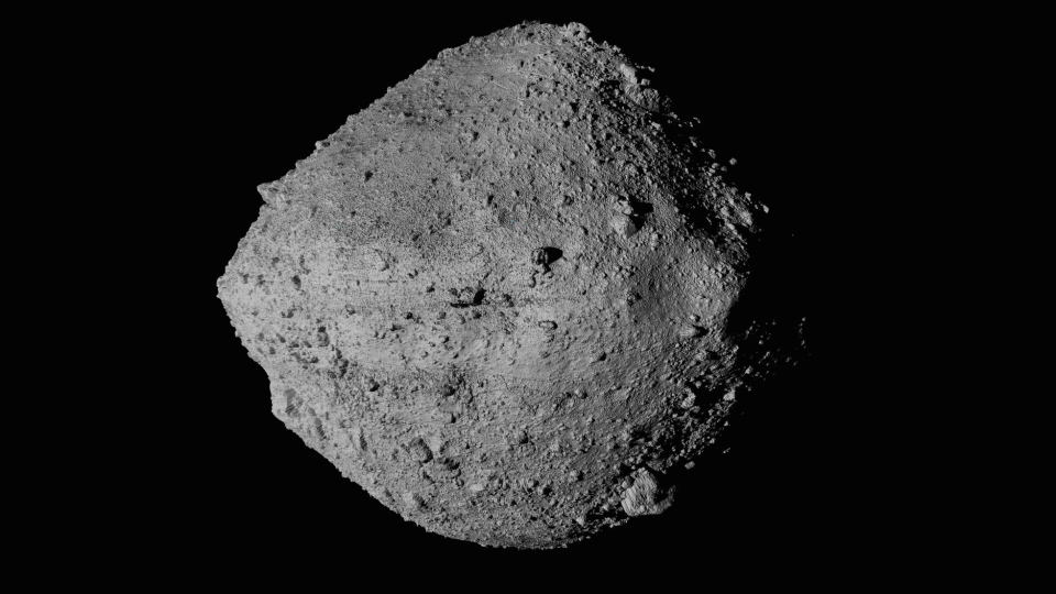 This undated image made available by NASA shows the asteroid Bennu from the OSIRIS-REx spacecraft. (NASA/Goddard/University of Arizona/CSA/York/MDA via AP)