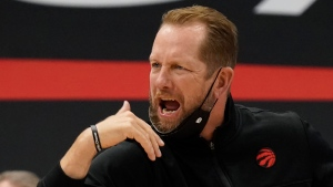 Toronto Raptors head coach Nick Nurse calls a play during the second half of an NBA basketball game against the Memphis Grizzlies Saturday, May 8, 2021, in Tampa, Fla. (AP Photo/Chris O'Meara)