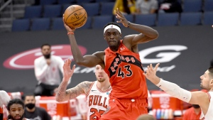 Toronto Raptors forward Pascal Siakam (43) looks to pass the ball against the Chicago Bulls during the second half of an NBA basketball game Thursday, April 8, 2021, in Tampa, Fla. (AP Photo/Jason Behnken)