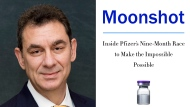"This combination photo shows Pfizer CEO Dr. Albert Bourla, left, and the cover art for his book, ""Moonshot: Inside Pfizer's Nine-Month Race to Make the Impossible Possible."" The book is scheduled for release on Nov. 9. (Robert Duron via AP, left and HarperCollins via AP)"