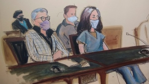 In this courtroom sketch, Ghislaine Maxwell, far right, appears in Manhattan Federal court seated next to her attorney Bobbi C. Sternheim, second from left, along with her sister Isabel Maxwell, far left, during her arraignment on a superceding indictment, Friday, April 23, 2021, in New York. (AP Photo/Elizabeth Williams)