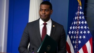 Environmental Protection Agency administrator Michael Regan pattens a press briefing at the White House, Wednesday, May 12, 2021, in Washington. (AP Photo/Evan Vucci)