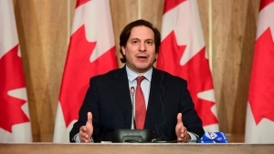 Marco Mendicino, Minister of Immigration, Refugees and Citizenship, announces measures of support to in-Canada families of victims of Ethiopian Airlines Flight 302 and Ukraine International Airlines Flight 752 during a press conference in Ottawa on Thursday, May 13, 2021. THE CANADIAN PRESS/Sean Kilpatrick
