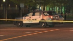 A police cruiser and a motorcycle collided in Etobicoke sending two people to hospital.