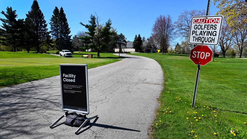 A closed Lakeview Golf Course facility is shown during the COVID-19 pandemic in Mississauga, Ont., on Wednesday, May 12, 2021. The Ontario government has deemed golf courses and other outdoor recreational sports unsafe to open at this current time. THE CANADIAN PRESS/Nathan Denette