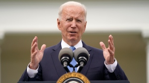 President Joe Biden speaks in the Rose Garden of the White House, Thursday, May 13, 2021, in Washington. (AP Photo/Evan Vucci)