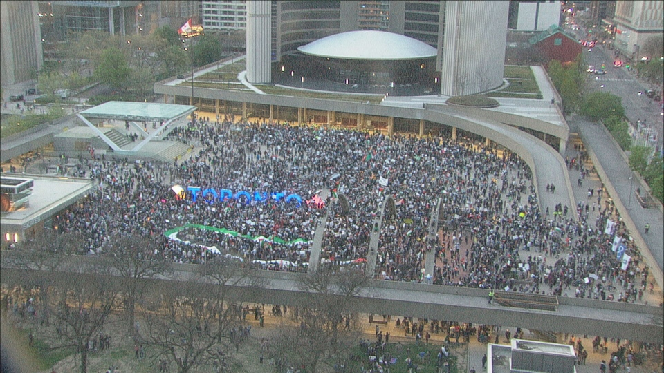Thousands gathered at Nathan Phillips Square in solidarity with Palestinians in Gaza.