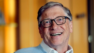 FILE - In this Feb. 1, 2019, file photo, Bill Gates smiles while being interviewed in Kirkland, Wash. (AP Photo/Elaine Thompson, File)