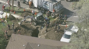 Two workers have been rescued from a trench following an industrial accident in North York on Monday afternoon.