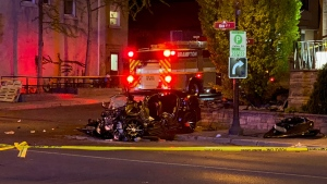 A badly damaged vehicle is seen after a crash in Brampton on May 17, 2021 that injured two people. (Mike Nguyen/CP24)