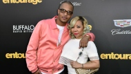 "FILE - In this Monday, June 1, 2015 file photo, T.I., left, and Tiny arrive at the Los Angeles premiere of ""Entourage"" at the Westwood Regency Village Theatre. Rapper T.I. and his wife Tameka ""Tiny"" Harris are under investigation by police in Los Angeles after a sexual abuse allegation. Los Angeles Police officer Rosario Cervantes said Tuesday, May 18, 2021 that an active investigation is underway. (Photo by Rob Latour/Invision/AP, File)"