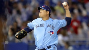 Toronto Blue Jays starting pitcher Hyun Jin Ryu throws to a Boston Red Sox batter during the fifth inning of a baseball game Tuesday, May 18, 2021, in Dunedin, Fla. (AP Photo/Mike Carlson)