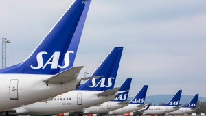 In this Friday, April 26, 2019 file photo, SAS planes are grounded at Oslo Gardermoen airport during pilots strikes, in Oslo. Scandinavian Airlines said Tuesday June 30, 2020. (Ole Berg-Rusten/NTB Scanpix via AP, File)