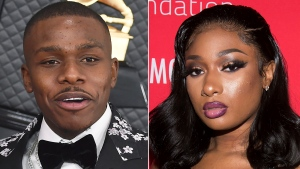 DaBaby arrives at the 62nd annual Grammy Awards in Los Angeles on Jan. 26, 2020, left, and Megan Thee Stallion appears at the 5th annual Diamond Ball benefit gala in New York on Sept. 12, 2019. The chart-topping rappers each scored seven nominations at the show airing live on June 27 from the Microsoft Theater in Los Angeles. (AP Photo)