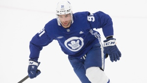Toronto Maple Leafs' John Tavares attends a practice session in Toronto on Saturday July 25 2020. THE CANADIAN PRESS/Chris Young