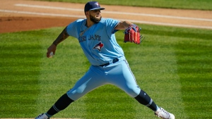 Toronto Blue Jays Alek Manoah delivers a pitch during the first inning of the first game of a baseball doubleheader against the New York Yankees Thursday, May 27, 2021, in New York. (AP Photo/Frank Franklin II)