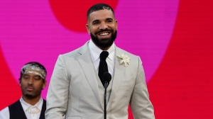 Drake accepts the artist of the decade award at the Billboard Music Awards on Sunday, May 23, 2021, at the Microsoft Theater in Los Angeles. (AP Photo/Chris Pizzello)
