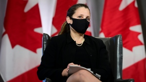 Deputy Prime Minister and Minister of Finance Chrystia Freeland joins Prime Minister Justin Trudeau as they participate in a virtual discussion from Ottawa on Monday, May 3, 2021. THE CANADIAN PRESS/Sean Kilpatrick