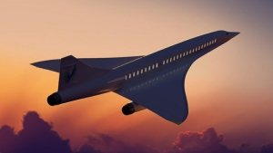 A rendering of the Overture supersonic jet by Boom Supersonic is shown in an image from the company's website.
