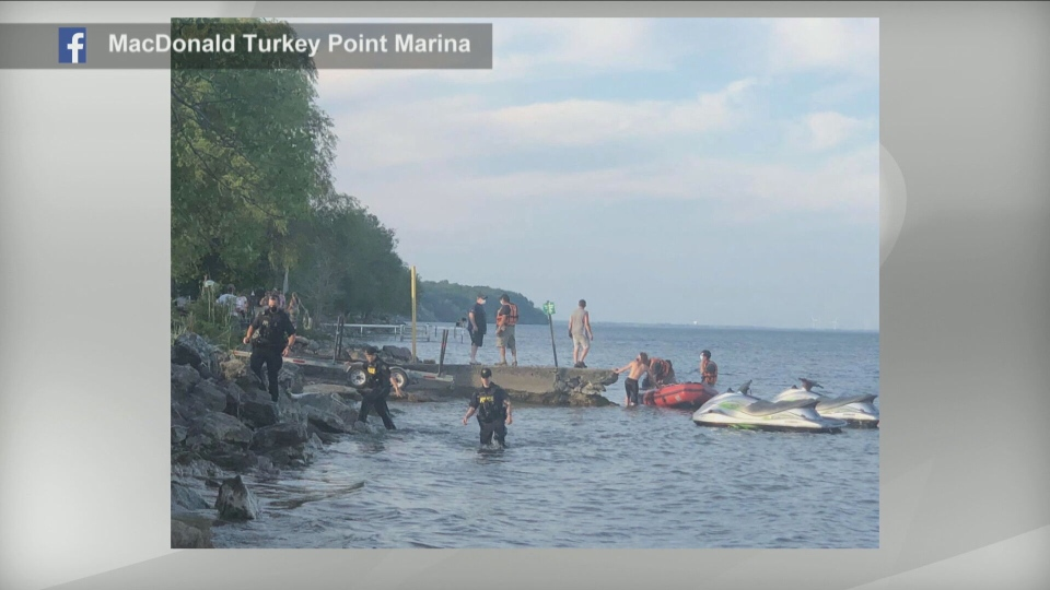 Emergency crews are searching the waters of Lake Erie for a boy who went missing while swimming at Turkey Point. (MacDonald Turkey Point Marina/ Facebook)